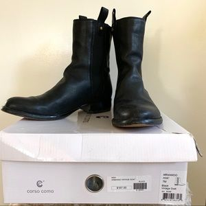 """Armando"" black goat leather Corso Como boots"